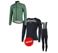 Rogelli fietskleding set winter heren Kalon Nero Groen