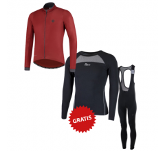 Rogelli fietskleding set winter heren Essential Focus Rood Zwart