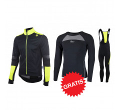 Rogelli winter fietskledingset Force Stealth zwart fluo