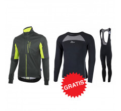 Rogelli winter fietskledingset Transition Focus zwart fluo
