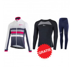 Rogelli winter fietskledingset Dot Select Blauw wit roze dames