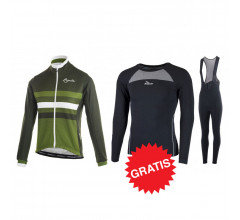 Rogelli winter fietskledingset Dot Nero Groen wit -dames