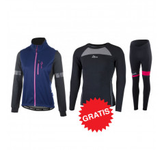 Rogelli winter fietskledingset Transition Select Zwart blauw Roze -dames