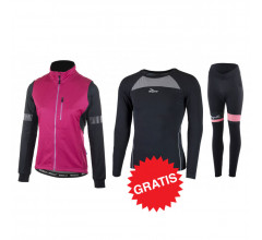 Rogelli winter fietskledingset Transition Select Zwart Cerise Roze -dames