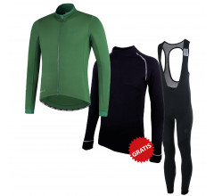 Rogelli fietskleding set winter heren Essential Focus Groen Zwart