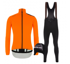 Santini fietskleding set winter heren - Vega Multi Jacket Orange Fluo Nimbus Rain Bibtight