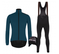 Santini fietskleding set winter heren - Vega Multi Jacket Petrol Green Nimbus Rain Bibtight