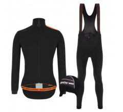Santini fietskleding set winter heren Vega Multi Jacket Black Nimbus Rain Bibtight