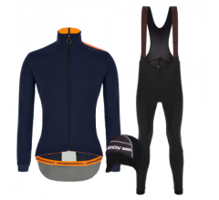 Santini fietskleding set winter heren Vega Multi Jacket Nautica Blue Nimbus Rain Bibtight