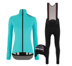 Santini fietskleding set winter dames Vega Multi Jacket Acqua Blue Nimbus Rain Womens Bibtight