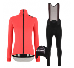 Santini fietskleding set winter dames Vega Multi Jacket Granatina Nimbus Rain Womens Bibtight