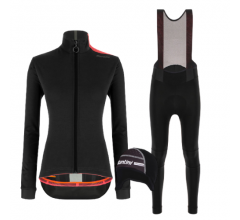 Santini fietskleding set winter dames Vega Multi Jacket Black Nimbus Rain Womens Bibtight