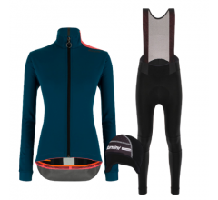 Santini fietskleding set winter dames Vega Multi Jacket Petrol Green Nimbus Rain Womens Bibtight