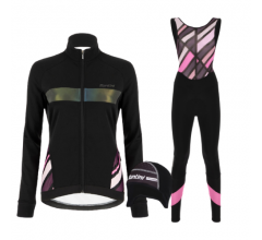 Santini fietskleding set winter dames Coral Raggio Jacket Black
