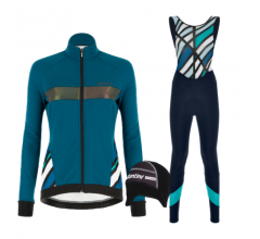 Santini fietskleding set winter dames Coral Raggio Jacket Petrol Green