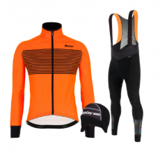 Santini fietskleding set winter heren Colore Jacket Orange Fluo Adapt Bibtight Black