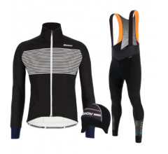 Santini fietskleding set winter heren Colore Jacket Black Adapt Bibtight Black