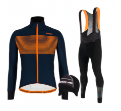 Santini fietskleding set winter heren Colore Nautica Blue Adapt Bibtight Black