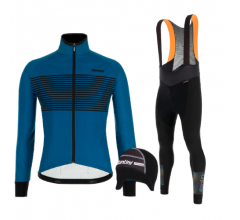 Santini fietskleding set winter heren Colore Petrol Green Adapt Bibtight Black