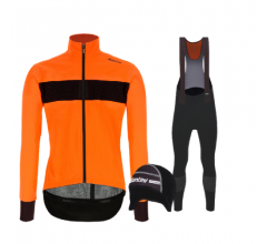 Santini fietskleding set winter heren Guard Mercurio Orange Fluo Nuhot Bibtight Black