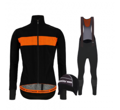Santini fietskleding set winter heren Guard Mercurio Black Nuhot Black Nuhot Bibtight Black