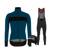 Santini fietskleding set winter heren Guard Mercurio Petrol Green Nuhot Bibtight Black