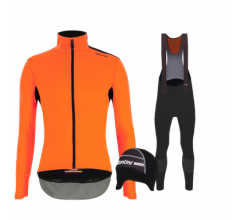 Santini fietskleding set winter heren Vega Extreme Orange Fluo Nuhot Bibtight Black