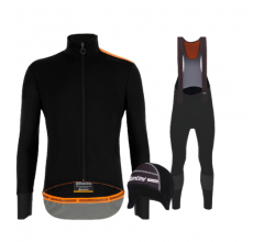 Santini fietskleding set winter heren Vega Extreme Black Nuhot Bibtight Black