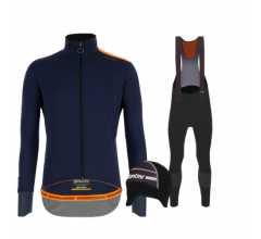 Santini fietskleding set winter heren Vega Extreme Nautica Blue Nuhot Bibtight Black