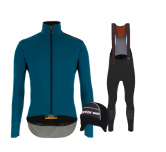 Santini fietskleding set winter heren Vega Extreme Petrol Green Nuhot Bibtight Black