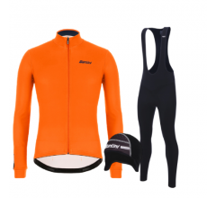 Santini fietskleding set winter heren Colore Jersey Orange Fluo Raro Bibtight Black