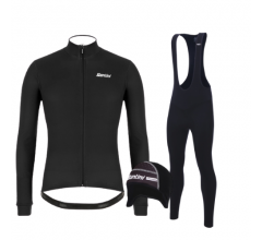 Santini fietskleding set winter heren Colore Jersey Black Raro Bibtight Black