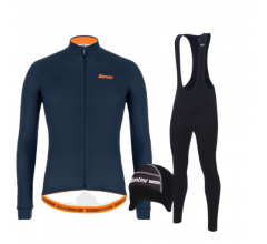 Santini fietskleding set winter heren Colore Jersey Nautica Blue Raro Bibtight Black