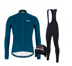 Santini fietskleding set winter heren Colore Jersey Petrol Green Raro Bibtight Black