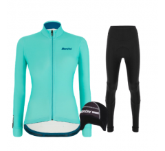 Santini fietskleding set winter Colore Jersey Womens Acqua Blue Alba Tight Black