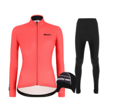 Santini fietskleding set winter Colore Jersey Womens Granatina Alba Tight Black
