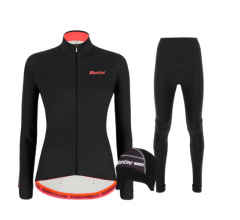 Santini fietskleding set winter Colore Jersey Womens Black Alba Tight Black