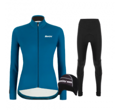 Santini fietskleding set winter heren Colore Jersey Petrol Green Raro Bibtight Tight Black