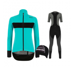 Santini fietskleding set winter Guard Mercurio Womens Jacket Aqua Blue Vega Extreme Bibtight Black
