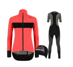 Santini fietskleding set winter Guard Mercurio Womens Jacket Granatina Vega Extreme Bibtight Black
