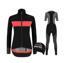 Santini fietskleding set winter Guard Mercurio Womens Jacket Black Vega Extreme Bibtight Black