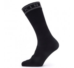 Sealskinz Fietssokken Waterdicht Unisex Zwart Grijs - Waterproof Warm Weather Mid Length Sock with Hydrostop Black Grey