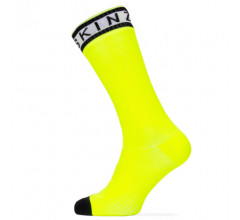 Sealskinz Fietssokken Waterdicht Unisex Fluo Zwart - Waterproof Warm Weather Mid Length Sock with Hydrostop Neon Yellow Black White