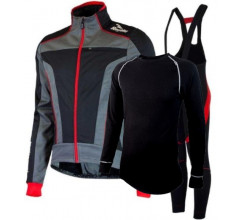 Rogelli Winterset rood Winterjack Trani 3.0 Bibtight Travo 2.0 en 21VIRAGES ZWEETHEMD DENO