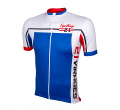 Wielershirt 21 Virages 21Cycling blauw rood
