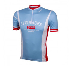 Wielershirt 21 Virages retro blauw