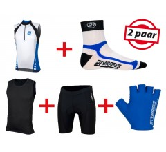 Fietskleding Zomerset 21Virages mouwloos wit blauw
