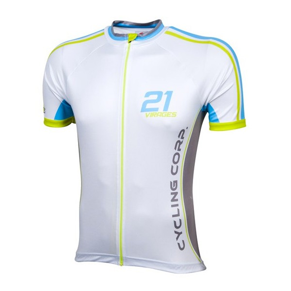 Wielershirt 21 Virages speed-Ice blue-lime